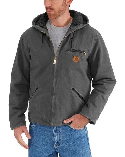 Carhartt Men's Sandstone Sierra Sherpa Lined Jacket, Dark Grey, hi-res