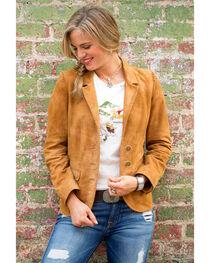 Ryan Michael Women's Brown Suede Leather Blazer , , hi-res