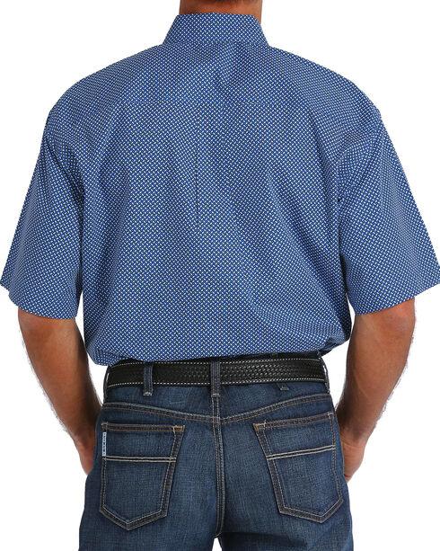 Cinch Men's Royal Blue Plain Weave Print Short Sleeve Button Down Shirt, Royal Blue, hi-res