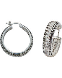 Montana Silversmiths Women's Crystal Hoop Earrings, , hi-res