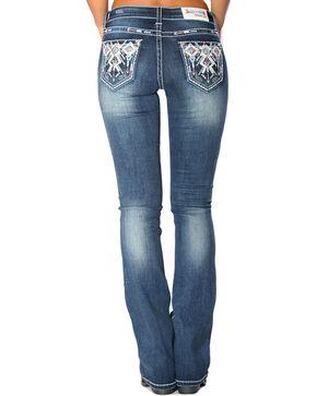 Grace in LA Women's Indigo Tribal Pocket Jeans - Boot Cut , Indigo, hi-res