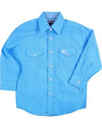 Panhandle Boys' Weave Patterned Long Sleeve Snap Shirt, , hi-res