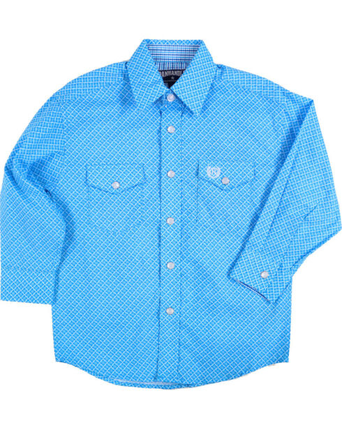 Panhandle Boys' Weave Patterned Long Sleeve Snap Shirt, Turquoise, hi-res