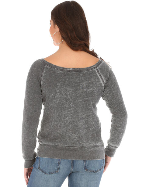 Wrangler Women's Acid Wash Fleece Logo Top, Grey, hi-res