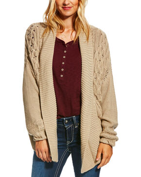 Ariat Women's Tan Cable Cardigan, Tan, hi-res