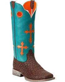 Ariat Girls' Ranchero Cross Cowgirl Boots - Square Toe, Chocolate, hi-res