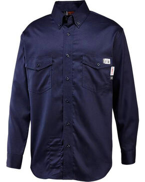 Wolverine Men's Navy Firezero FR Twill Long Sleeve Shirt, Navy, hi-res
