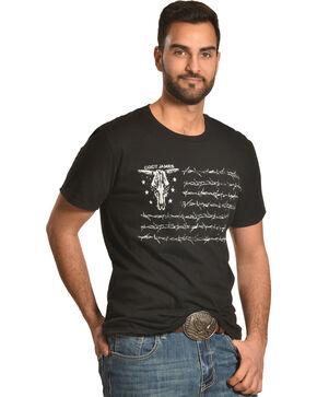 Cody James Men's Barbed Wire Flag T-Shirt, Black, hi-res