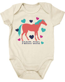 Farm Girl Infants' Horse and Hearts Short Sleeve Onesie, , hi-res