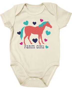 Farm Girl Infants' Horse and Hearts Short Sleeve Onesie, Ivory, hi-res