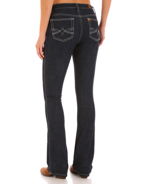 Wrangler Aura Women's Indigo Instantly Sllmming Stitch Pocket Jeans - Boot Cut, Indigo, hi-res