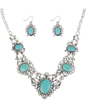 Shyanne® Women's Turquoise & Filigree Jewelry Set, Silver, hi-res