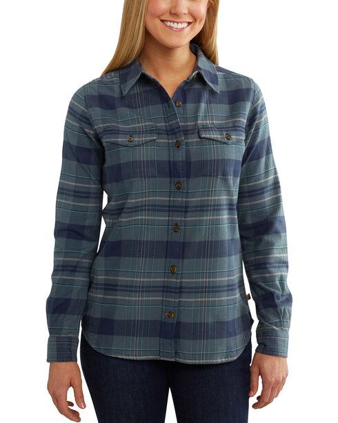 Carhartt Women's Hamilton Plaid Rugged Flex Long Sleeve Shirt, Green, hi-res