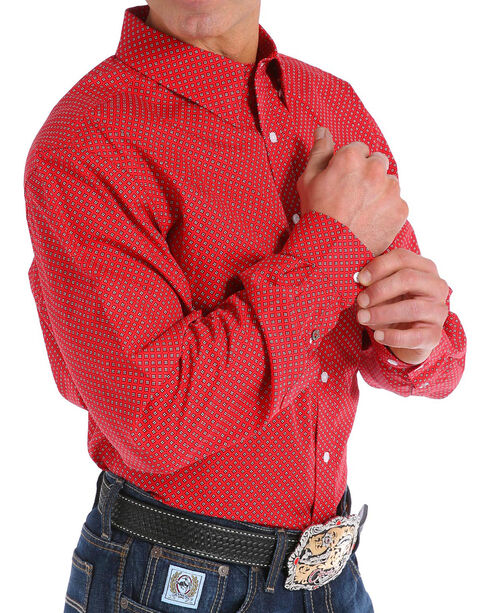 Cinch Men's Modern Fit Red Print Long Sleeve Button Down Shirt, Red, hi-res