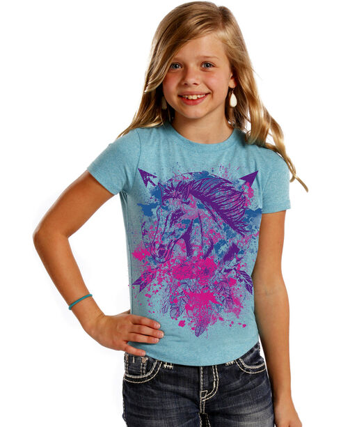 Rock & Roll Cowgirl Girls' Horse & Arrows Tee, Turquoise, hi-res