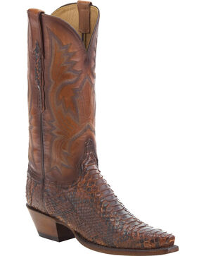 Lucchese Women's Antique Nutmeg Juliette Python Western Boots - Snip Toe, Brown, hi-res