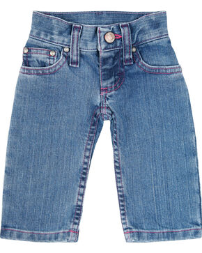 Wrangler Toddler Girls' Pink Stitched Jeans, Blue, hi-res