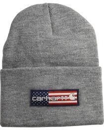 Carhartt Men's Heather Grey Flag Patch Acrylic Watch Hat , , hi-res