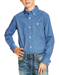 Ariat Boys' Printed Button Down Long Sleeve Shirt, , hi-res