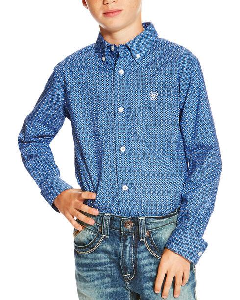 Ariat Boys' Printed Button Down Long Sleeve Shirt, Multi, hi-res