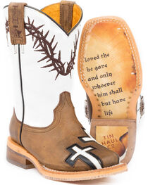 Tin Haul Boys' Tan Crosses Western Boots - Square Toe , , hi-res