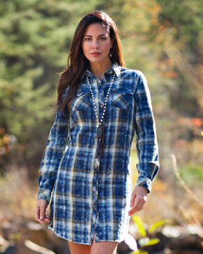 Ryan Michael Women's Moss Plaid Dress , Moss Green, hi-res