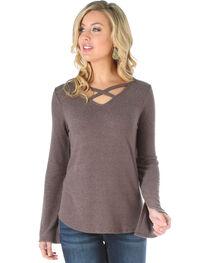 Wrangler Women's Criss Cross Long Sleeve Sweater Knit Top, , hi-res