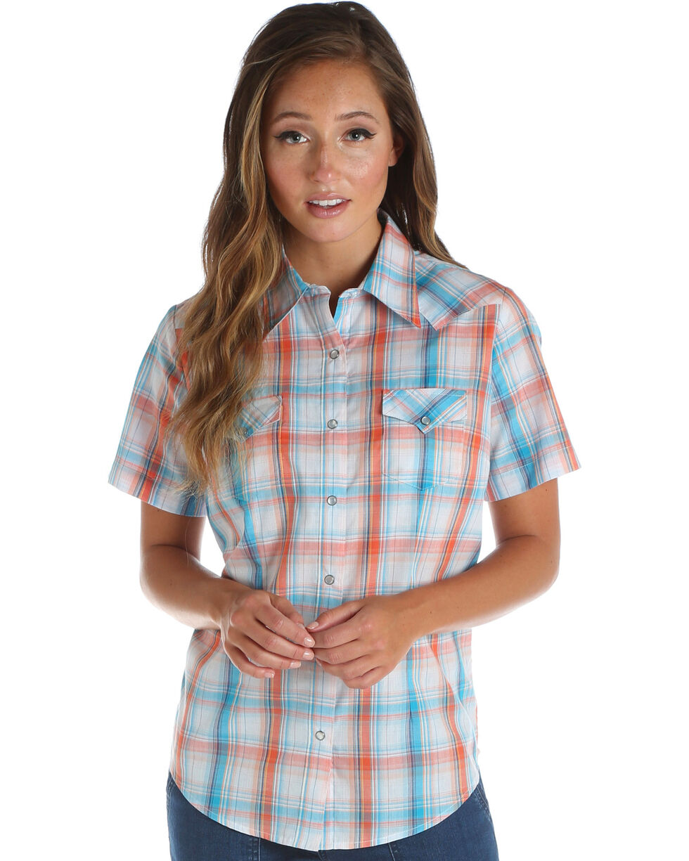Wrangler Women's Coral Short Sleeve Plaid Top , Multi, hi-res