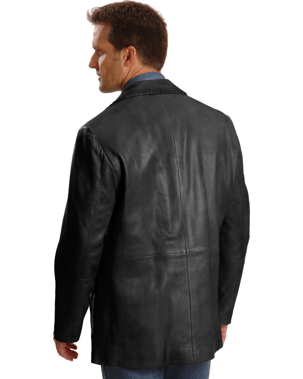 Scully Men's Whipstitch Leather Blazer, Black, hi-res