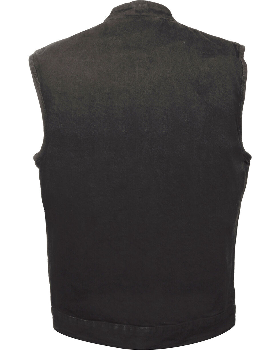 Milwaukee Leather Men's Snap Front Denim Club Style Vest w/ Gun Pocket - Big - 4X, , hi-res