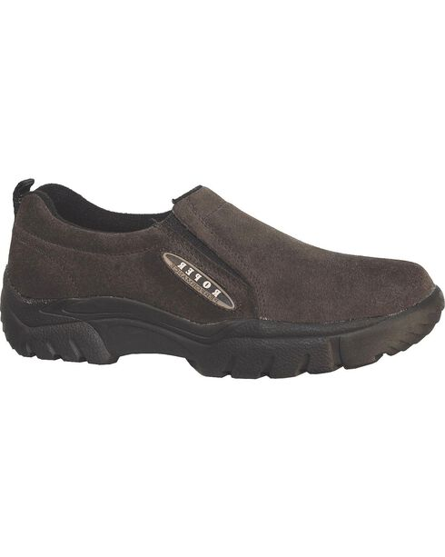 Roper Performance Suede Slip-On Shoes - Round Toe, Brown, hi-res