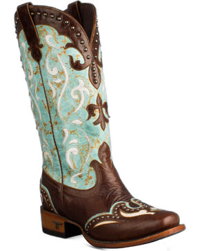 Lane Women's Lasso Studded Western Boots, Turquoise, hi-res