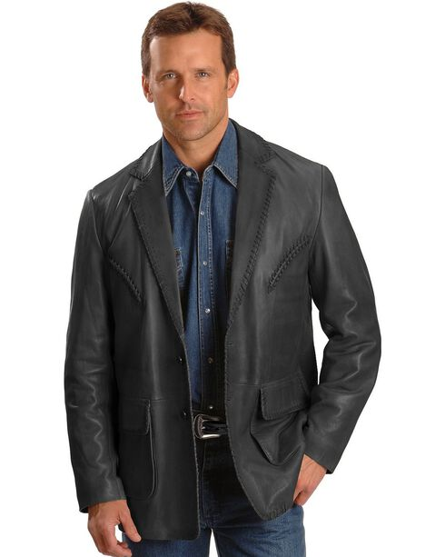 Scully Whipstitch Lambskin Leather Blazer - Reg, Tall, Black, hi-res