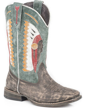 Roper Boys' Indian Chief Cowboy Boots - Square Toe, Brown, hi-res