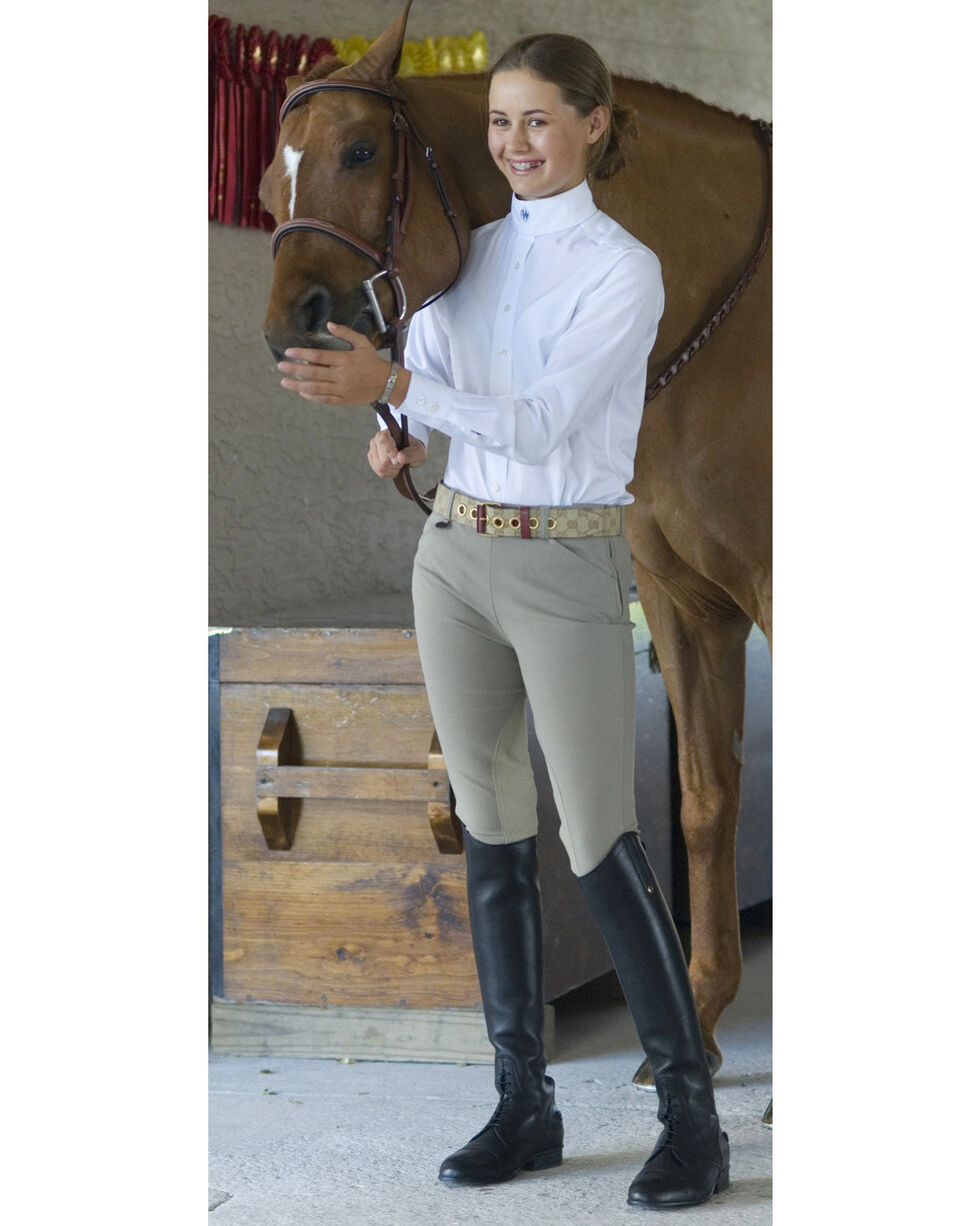 Ovation Girls' Euroweave Sidezip Breeches, Beige, hi-res