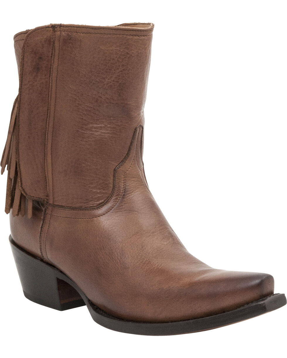 Lucchese Women's Flannery Tassel Shorty Boots, Tan, hi-res