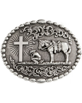 Nocona Belt Co Men's Christian Cowboy Belt Buckle, Silver, hi-res