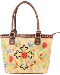 Blazin Roxx Cross & Rose Embroidered Tote Bag, , hi-res