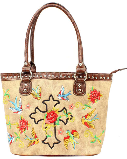 Blazin Roxx Cross & Rose Embroidered Tote Bag, Tan, hi-res