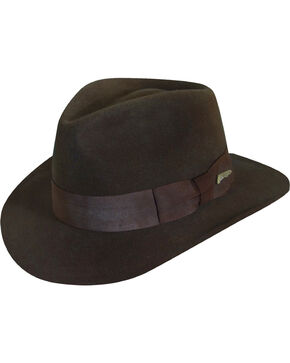 Dorfman Men's  Indian Jones Wool Felt Crushable Hat, Brown, hi-res