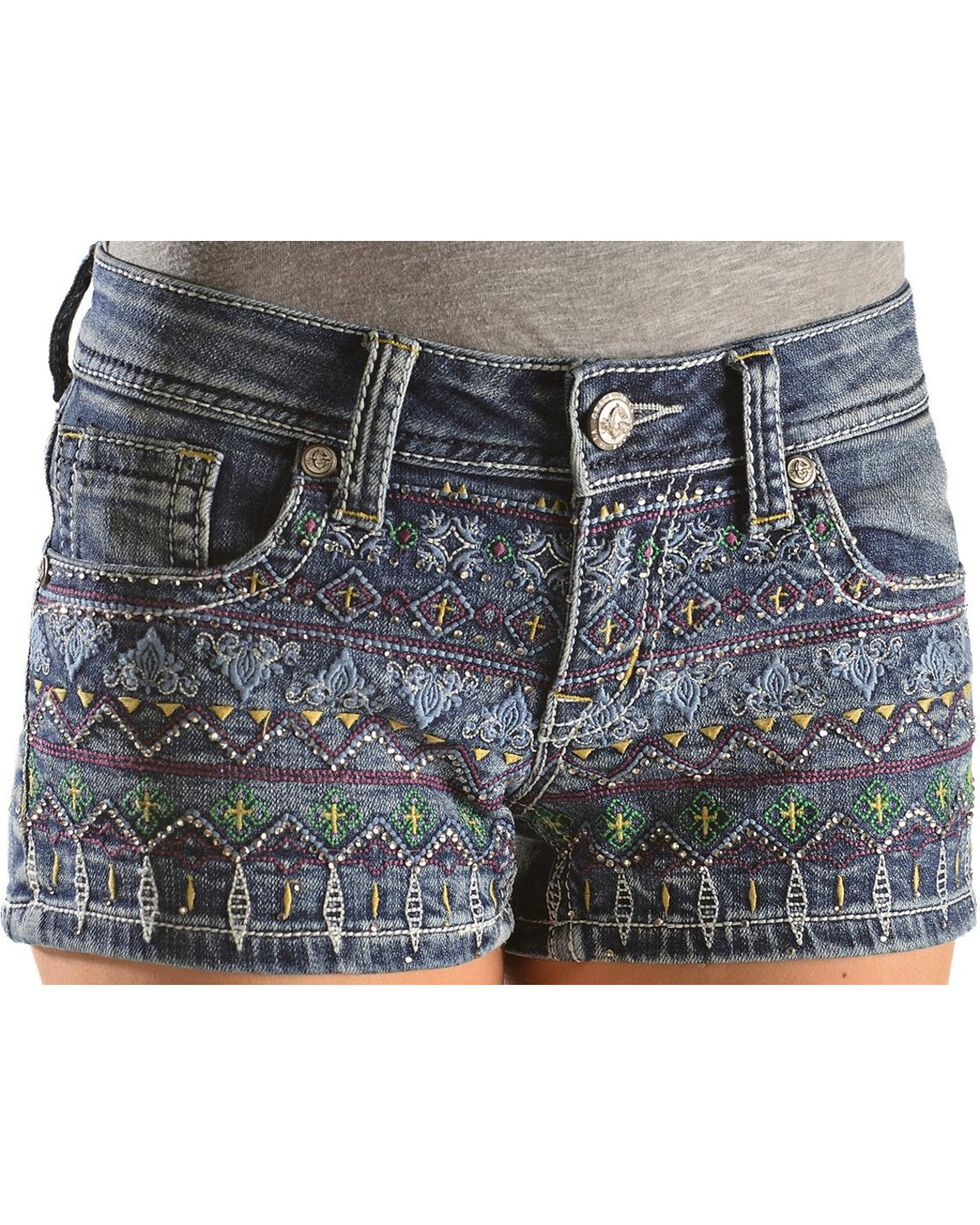 Grace in L.A. Colorful Embroidered Shorts, Denim, hi-res