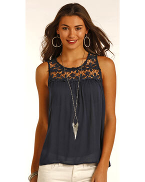 Panhandle Women's Lace Crochet Blouse, Navy, hi-res