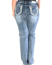Grace in LA Light Wash Floral Pocket Bootcut Jeans - Plus Size , , hi-res