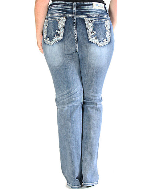Grace in LA Light Wash Floral Pocket Bootcut Jeans - Plus Size , Indigo, hi-res