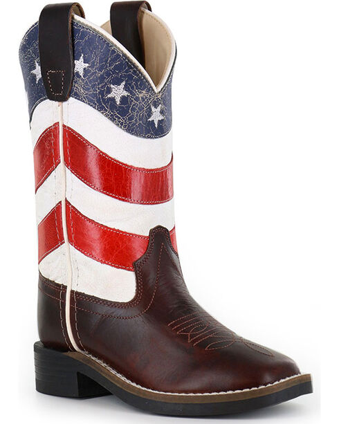 Cody James® Boys' American Flag Western Boots, Red/white/blue, hi-res