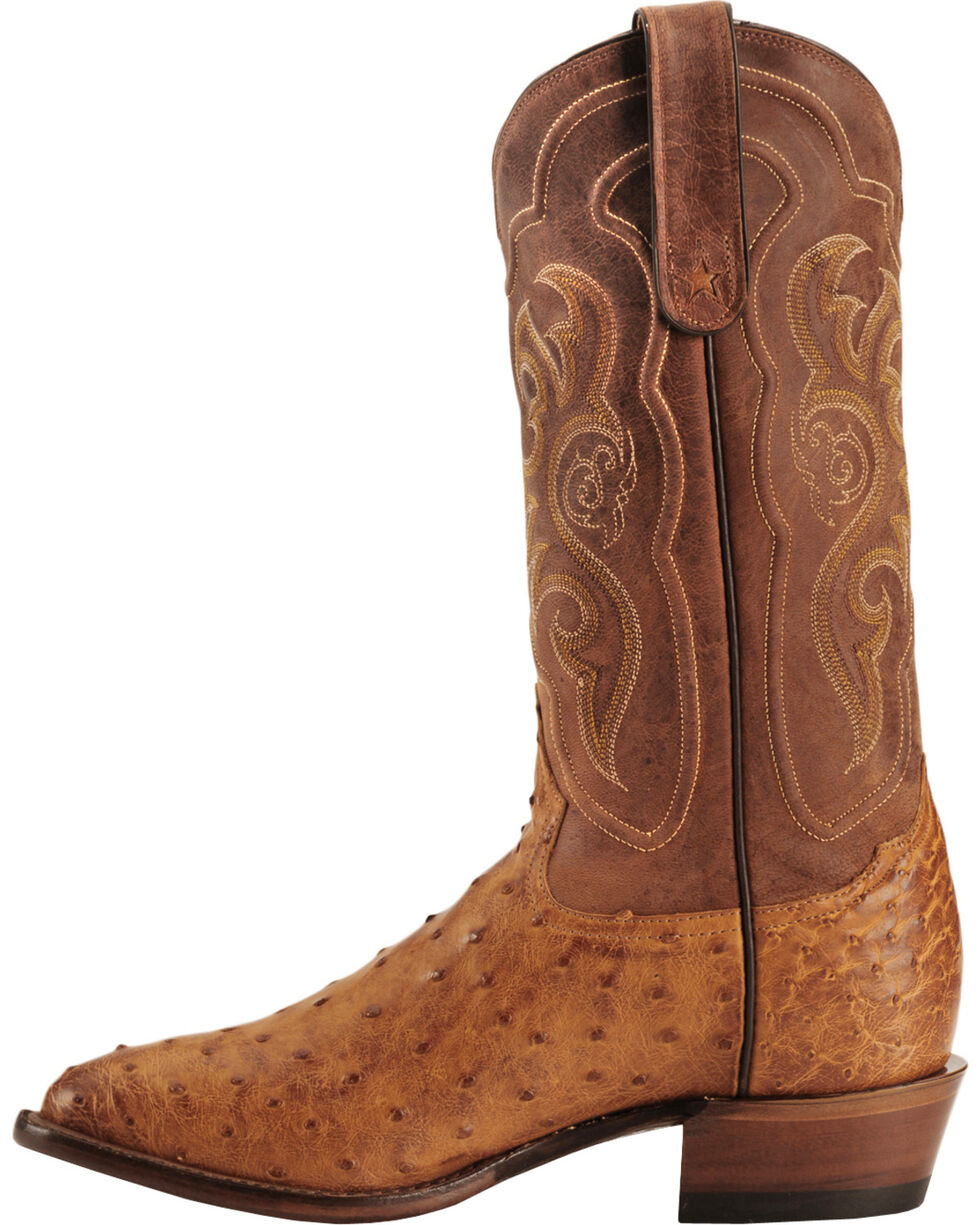 Tony Lama Men's Vintage Full Quill Ostrich Exotic Western Boots, Cognac, hi-res