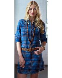Ryan Michael Women's Indigo Plaid Shirt Dress, , hi-res