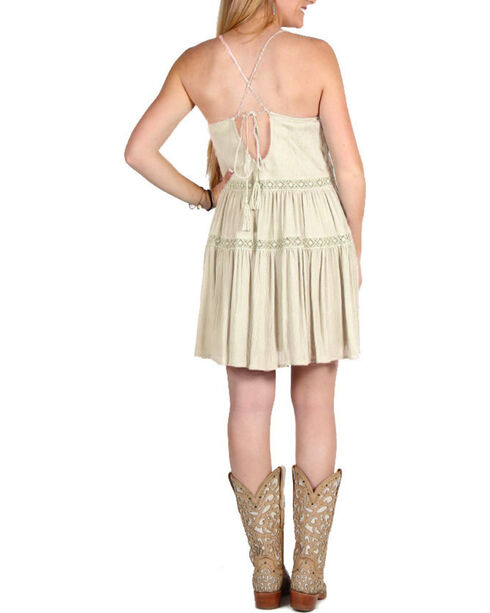 Derek Heart Women's Strappy Tiered Dress, Cream, hi-res
