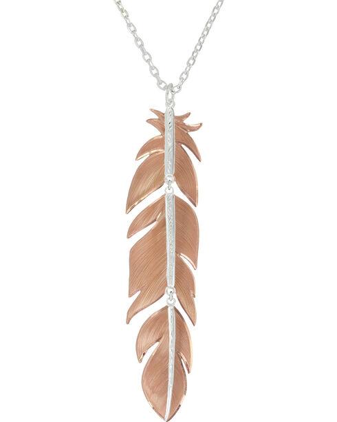 Montana Silversmiths Women's Sunlit Phoenix Feather Necklace, Silver, hi-res
