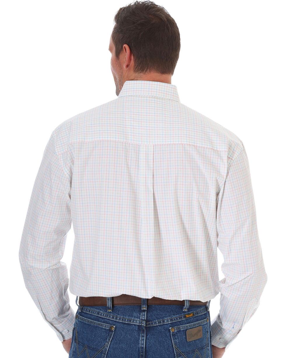 Wrangler Men's George Strait White Plaid Shirt - Tall , White, hi-res